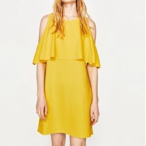 Zara Yellow Ruffle Cold Shoulder Mini Dress